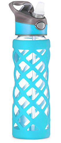 Clear Glass Bottles with Straw, 25 Oz Heat Resistant Glass Sports Bottles, Reusable Water Bottle, Tumbler with Silicone Sleeve, Blue by Swig Savvy