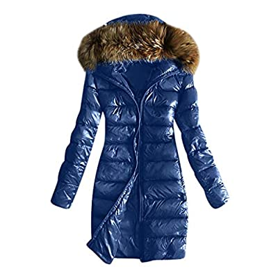 E-Scenery Women Coats, Outwear Quilted Winter Warm Fur Collar Hooded Thicken Jacket Tops Blue