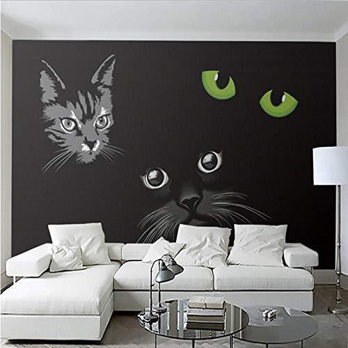 Pbbzl Benutzerdefinierte Wandbild Schwarze Katze Katzenaugen Moderne 3D Wohnzimmer Sofa Tv Hintergrund Halle Fresko Tapete Wandverkleidungsrolle-400X280Cm