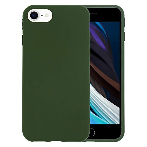 Danbey Matte Case for iPhone SE 2020, for iPhone 8, for iPhone 7, 4.7 inches, Matte Surface Slim Cover, Skin Feeling, 1.5mm Thick Flexible TPU, Charming Solid Color - Dark Green