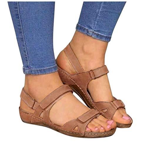 Espadrilles Wedges for Women,Casual Espadrille Slide On Platform Sandals Comfort Open Toe Ankle Elastic Strappy Studded Flatform Sandal Shoes Brown