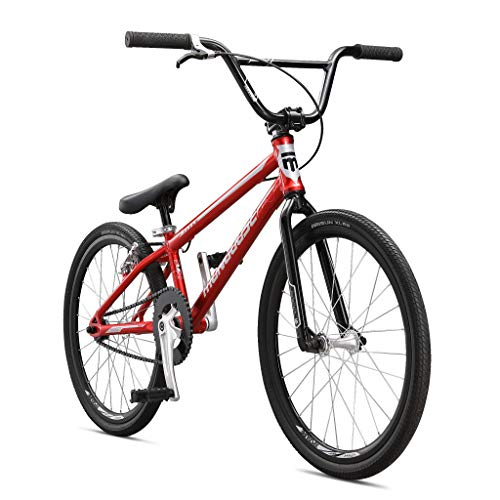 Mongoose Title Junior BMX Race Bike, 20-Inch Wheels, Beginner to Intermediate Riders, Lightweight Aluminum Frame, Internal Cable Routing, Red