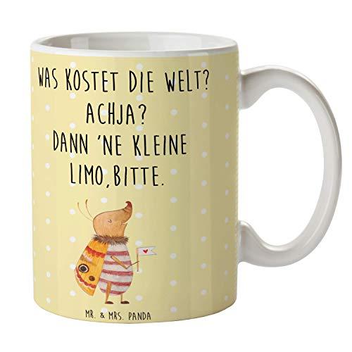 Mr. & Mrs. Panda Te, kaffekopp, kopp nattvikt med flaggor med ordspråk – färg gul pastell