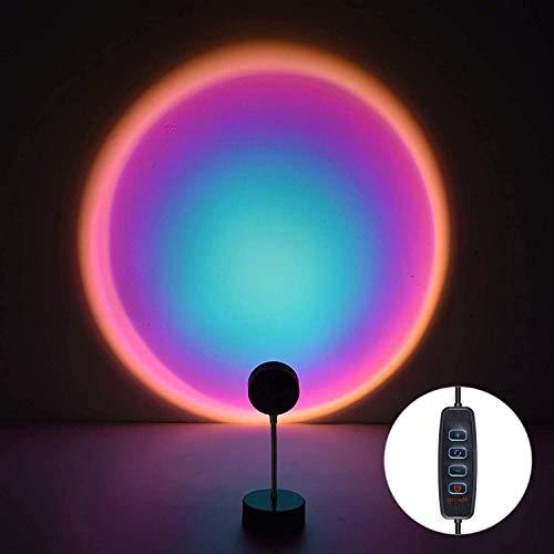 WOANWAY Lámpara de Proyección Sunset LED,lámpara de Puesta de Sol de Arcoíris de Rotación de 360°, Romántico Visual, Proyector de puesta de sol, lámpara de pie moderna, lámpara de noche para salón