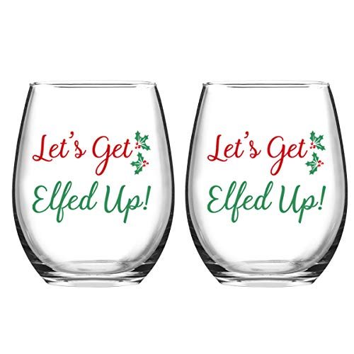 Let's Get Elfed Up Christmas Wine Glass, 15 Oz Funny Stemless Wine Glasses for Women Friends Men, Gift Idea for Christmas Wedding Party, Set of 2
