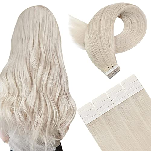 YoungSee 24 Pouces #60 Blonde Platine Blond Extension Adhesive Longue Naturel Adhesif Cheveux Humain Extensions Raide Remy Tape Hair Long 40pcs/100g