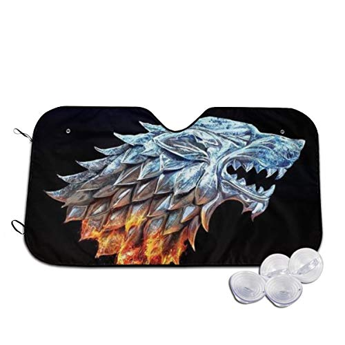 Others Game Cool Thrones Front Windshield Shade Accordion Folding Auto Sunshade for Car Truck SUV Blocks UV Rays Sun Visor Protector Keeps Your Vehicle Cool