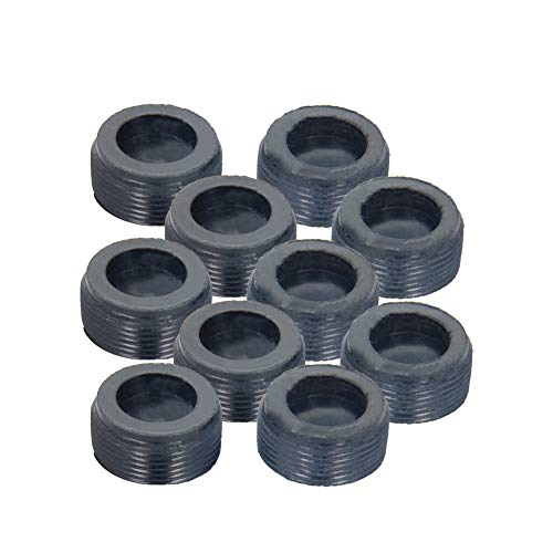 Fielect Carbon Brush Holder Caps 18mm O.D. 6.5mm Thickness Motor Brush Cover Plastic Fitting Thread Black 10Pcs