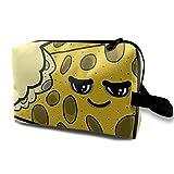 XCNGG Bolsas de aseo para niñas Bolsas de maquillaje de viaje espaciosas Bolsas de cosméticos de viaje portátiles Queso arregla todo Comida Humor Dibujos animados Amarillo
