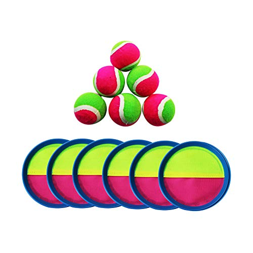 Wowu Juego de bolas adhesivas para lanzar y atrapar, para verano, playa, entretenimiento, playa, fiesta, fiesta, 6 paletas, 6 bolas