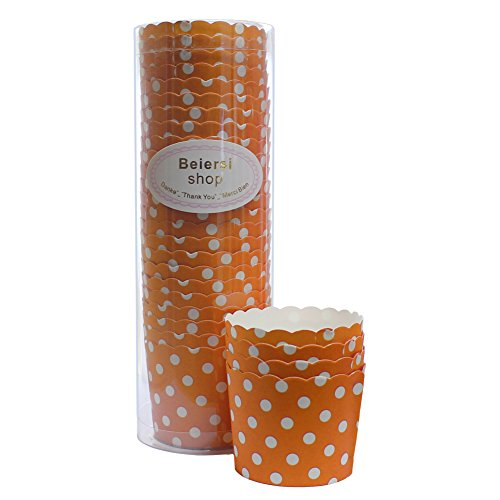 Beiersi 24Pcs Point d'onde Paper Cake Cup Cupcake Cases Liners Muffin Cuisine Baking Wedding Party Bake The Cake Cup (Orange)