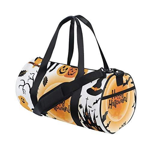 ZOMOY Sporttasche,Halloween Happy Ghost drucken,Neue Bedruckte Eimer Sporttasche Fitness Taschen Reisetasche Gepäck Leinwand Handtasche