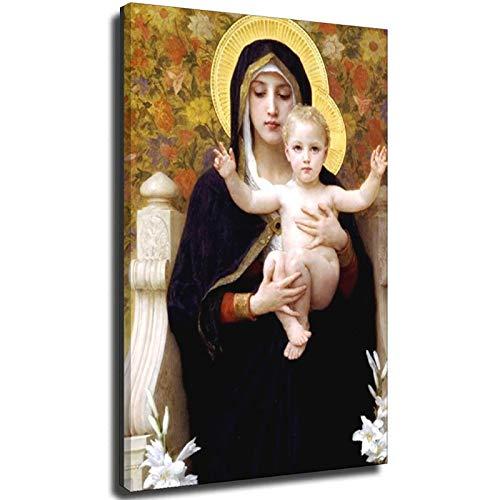 Cuadro modular de Madonna con niño para decoración del hogar en la pared, marco de 60 x 90 cm
