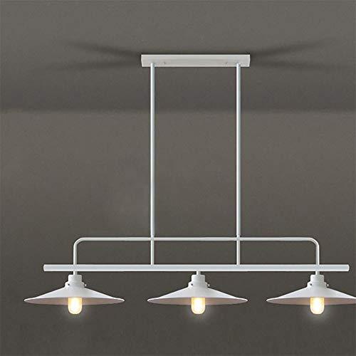 Jiafum Luces de Mesa de Billar rusticas, arana de Metal Industrial Retro para Sala Comedor Mesa de Billar Luces de Isla (3 Cabezas de lampara),White