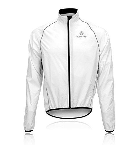 Morethan サイクル ジャケット ウインドブレーカー 防風 バックポケット付き メンズ WVP-005、ホワイト、L