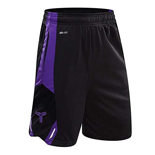 1Bests Pantaloncini da Corsa di Pallacanestro Correnti Maschili Pantaloncini Sottili di Allenamento Sottile di Forma Traspirante con Tasca (Black Purple, L)