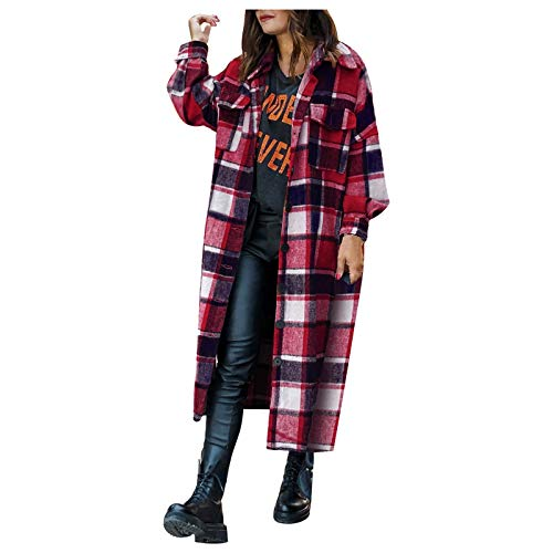 Womens Blouse Jacket Ladies Fashion Plaid Checkered Printed Jackets Buttons Long Sleeve Lapel Long Jacket Coat Cardigan