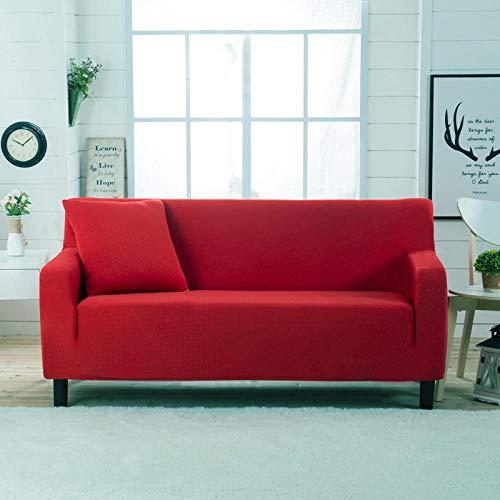 Allenger Funda de sofá Elastica,Funda de sofá elástica Gruesa de Color sólido, para Todas Las Estaciones, Universal, Todo Incluido, cojín para sofá, Funda de sofá, Toalla-Knight Red_190-230cm