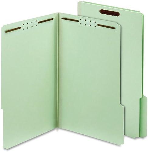 Folders, Two Inch Expansion, Two Fasteners, 1 3 Cut Tab, Legal, Grün, 25 Box
