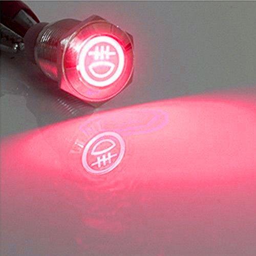 E Support 16mm KFZ Auto Kippschalter Wippschalter Druckschalter Schalter Drucktaster 12V Rot LED Licht Metall Nebelschlussleuchte