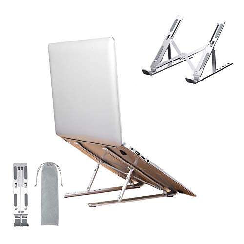 """Portable Laptop Stand, Laptop Holder Riser Computer Stand, Aluminum 9-Angles Adjustable Ventilated Notebook Stand Mount for MacBook Air Pro, Lenovo, Dell, More 10-15.6"""" Laptops - Silver"""