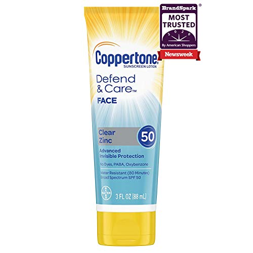 Coppertone Defend & Care SPF 50 Clear Zinc Face Sunscreen (3 fl. oz. Tube)  $3.80 at Amazon