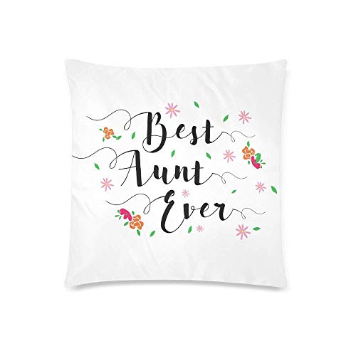 Nmfdz Best Aunt Ever Decor Throw Pillow Case Cushion Covers, Decorative Zippered Protector, 18x18 InchType 1Square-18x18 Inchfashion Black