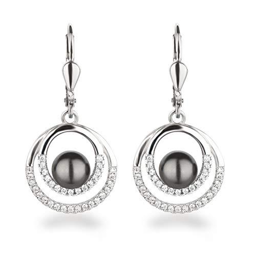 Schöner-SD Perlen-Ohrringe hängend Zirkonia Ohrhänger 925 Silber in dunkel-grau