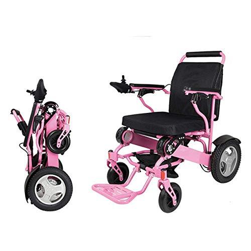 CHHD Elektrische Rollstühle, Elektrorollstuhl aus Aluminiumlegierung, Klappbarer tragbarer älterer behinderter intelligenter Rollstuhl, Pink