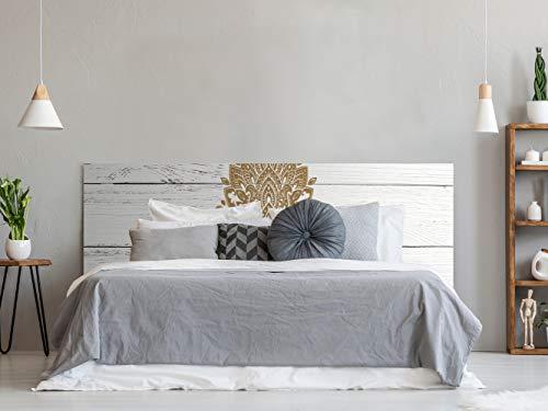 Cabecero Cama PVC Impresión Digital Imitación Madera Blanca con Tribal Estilo Henna 200 x 60 cm | Disponible en Varias Medidas | Cabecero Ligero, Elegante, Resistente y Económico