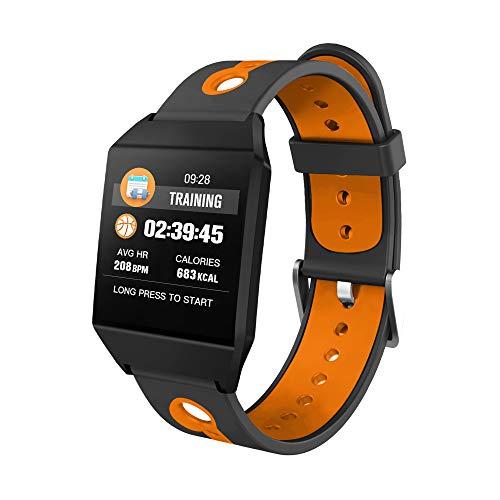 Fitness Tracker, BG&MF IP67 Armband Wasserdicht Fitness Uhr Outdoor Aktivity Tracker Blutdrucküberwachung Schrittzähler Schlaf Monitor Pedometer Kalorie Anrufe,Orange