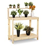 HOMFY Outdoor Garden Potting Bench Wooden Planting Work Station Table Open Shelf - Natural