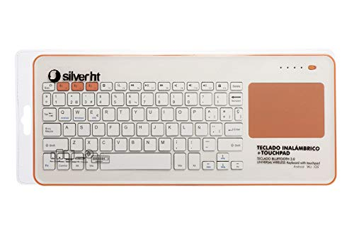 Silver HT - Teclado Inalámbrico con Touchpad para Smart TV, Smartphones, Tablets, iPhone, iPad y Videoconsolas - White + Peach