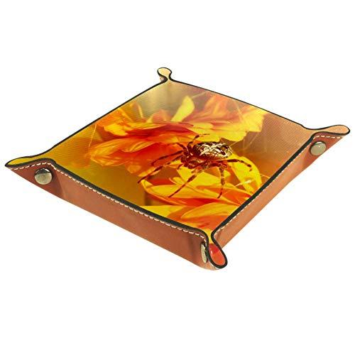 Yuzheng Spinnen-Chrysantheme Sun Golden Leder Schublade Tablett Schreibtisch Schreibwaren Kleinigkeiten Gadget Organizer Aufbewahrungsbox Schlüsselbehälter Dekorative Box für Wohnzimmer Büro 16x16cm