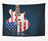 N\A Accueil Tapisserie Décorative Tenture Murale Musique Guitare Électrique Drapeau Américain Country Band Rock Blues Tapisseries Couverture Murale pour Dortoir Salon Chambre