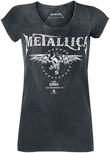 Metallica Biker Mujer Camiseta Negro/Gris XXL, 100% algodón, Regular