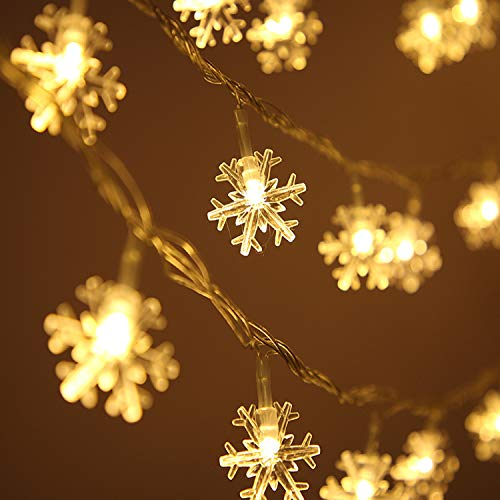 Viilich - Catena di luci a forma di fiocco di neve, 100 luci a LED di Natale, con 8 modalità di illuminazione, per albero di Natale, casa, giardino, camera da letto, feste, bianco caldo