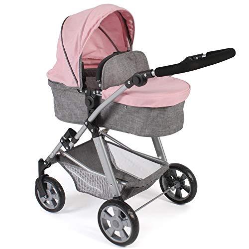 Bayer Chic 2000 568 15 Kombi-Puppenwagen Nele, 2-in-1 für Baby-Puppen bis 50 cm, Melange grau-rosa