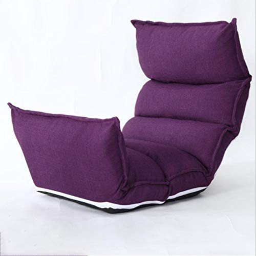 Huahua Furniture Bodenstuhl, Lounge-Schlafsofa Klappbarer 5-Positionen-Verstellbarer Hochlehner-Schlafsessel mit Futon-Matratzensitz (Color : Purple)