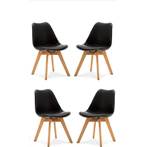 Comfortableplus Set di 4 Tulip Pranzo/Ufficio Sedia con Gambe in Faggio Massiccio,Sedie Senza Braccia Imbottita di Design per Il Massimo Comfort -Nero