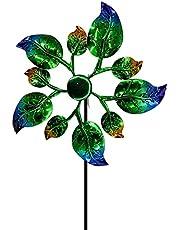 daiyanjing Wind Spinner voor Yard Wind Spinnerei binnenplaats decoratie ijzer windmolen kleurrijke wilde bladeren dubbele richting wind spinner regenboog gekleurd smeedijzeren windmolen voor tuin gazon decoratie