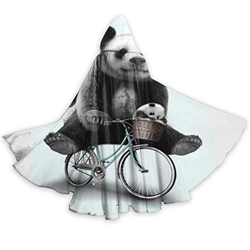 Zome Lag Mantello del Mantello per Adulti Panda Carino in Sella alla Bici da Viaggio A Figura Intera Mantello con Cappuccio di Halloween Costumi di Fantasia per Il Capo di Natale per Le Donne