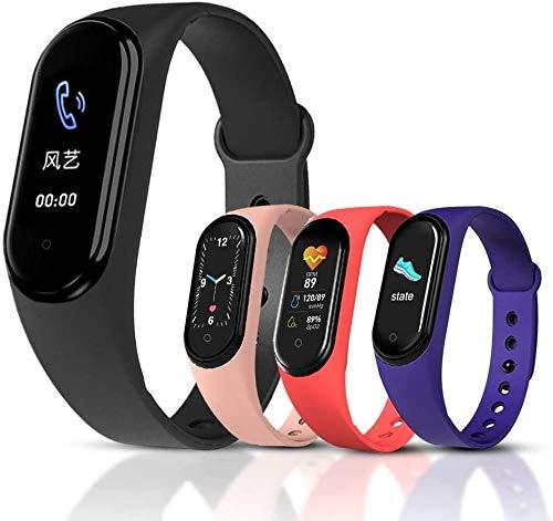 Reloj inteligente pulsera de presión arterial ritmo cardíaco rastreador de fitness impermeable deportes hombres mujeres smartwatch para Android IOS (color M5 Negro)-M5 rosa