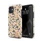 BURGA Cover per iPhone 12 - Marmo Fiori Floreale Floral Peach Marble Eucalipto Vintage agli Urti Ed A Doppio Strato + Custodia Protettiva in Silicone Case Cover