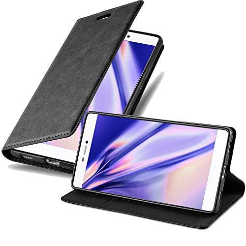 Cadorabo Hülle für Huawei P8 - Hülle in Nacht SCHWARZ – Handyhülle mit Magnetverschluss, Standfunktion und Kartenfach - Case Cover Schutzhülle Etui Tasche Book Klapp Style