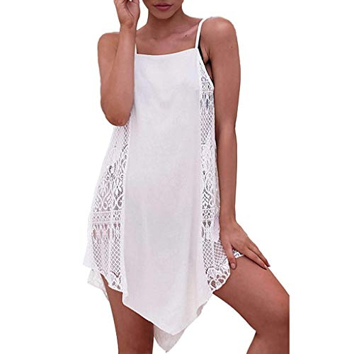 MAYOGO Sommerkleider Strandkleid Damen Sommer Kurz Weiße Sexy Bademode Bikini Vertuschen Durchscheinend Frauen Strand Spaghetti Kleid Leibchen Kleid Spitzenkleid