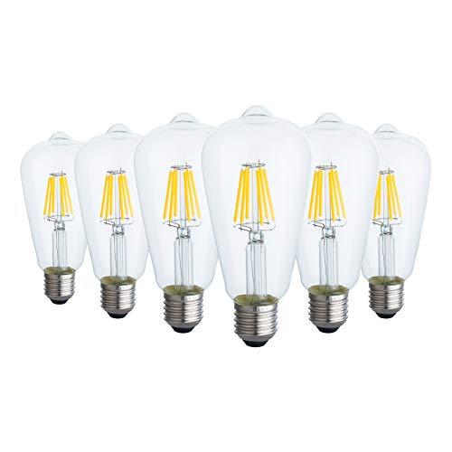 Edison Glühbirne E27 Led Warmweiss Dimmbar - Vintage Glühbirne E27 Led Leuchtmittel - Retro Glühbirne Led E27 Warmweiss - Led Glühbirnen E27 Dimmbar - ST21/ST64 - 6W 220V - Klarglas - 6 Pack