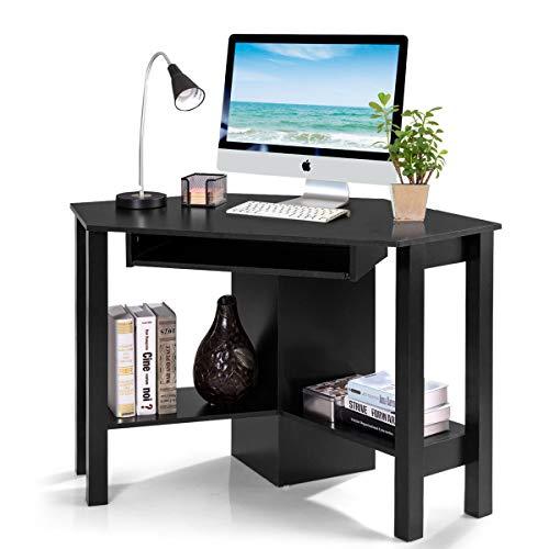 COSTWAY Schreibtisch Computerschreibtisch Computertisch Eckschreibtisch Winkelschreibtisch Bürotisch Corner Table Ecktisch Arbeitstisch Tastaturauszug 120 x 60 x 77cm (Schwarz)
