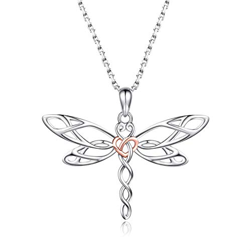 MANBU Sterling Silver Dragonfly Earrings Necklace - Celtic Jewelry Gifts for Women Dragonfly Lovers (Rosegold Necklace)