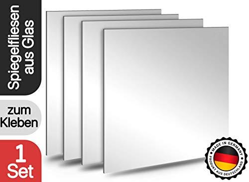 Spiegelfliesen selbstklebend | Made In Germany | 20x20cm | Glas | Spiegel zum Kleben | Deko Spiegel für Küche, Bad, Wohnzimmer und vieles mehr | Spiegel Klein | Wandspiegel zum aufkleben (4er Set)
